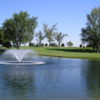 A view over the water of hole #10 at Sun Willows Golf Course