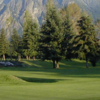 A view of green #18 with mountain in background at Mt. Si Golf Course