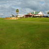 View of the 9th green and the clubhouse at George Town Golf Club