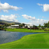 View of the fountain and the lake at Kapolei Golf Club