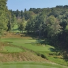 The eighth hole is the third par-3 on the front nine of the Highland Course at Primland Resort in Meadows of Dan, Virginia.