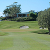 A view of the 4th green with clubhouse in background at Byron Bay Golf Club
