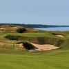 Pete Dye's signature railroad ties make an appearance near the 11th green on the Straits Course at Whistling Straits.