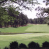 A view of a green with water coming into play at the Country Club of North Carolina.