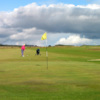A view of green protected by bunkers at Lybster Golf Club
