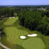 Aerial view of hole #18 at Whispering Woods Golf Course