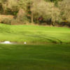 A view over the water of the 6th green at Clevedon Golf Club