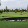 A view over the pond of a green at Taunton Vale Golf Club