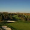 A view of green #16 flanked by bunkers at Shawneeki Golf Club