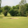 A view of a green protected by bunkers at Championship Course from St. Mary's Golf Club