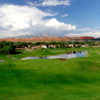 A view of a green with water coming into play at Sunbrook Golf Club