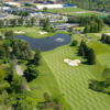 Aerial view of the 18th fairway and green at University of Michigan Golf Course