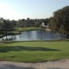A view of the 5th hole with water coming into play at Hidden Hills Golf Course