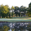A view over the water of green #8 at Chester Golf Club