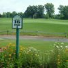 View of the 16th tee with the 15th green in the background at Sandy Creek Golf Course