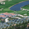Aerial view of the 18th green and clubhouse at La Estancia Golf Course