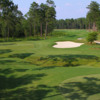 A beautiful view of a green guarded by a heart shaped bunker at Kinderlou Forest Golf Club