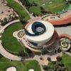 Aerial view of the clubhouse at Al Badia Golf Course