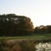 A view over the water of the 18th green at Championship Course from Bleijenbeek Golf Club