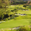 A view of a green guarded by tricky bunkers at Europa Course from La Cala Resort