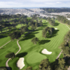 Aerial view of the 4th green at Lake Merced Golf & Country Club