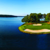 Aerial view of hole #16 at Great Waters Course from Reynolds Lake Oconee
