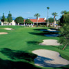 A view of the 18th fairway with sand traps on bot sides at Yorba Linda Country Club
