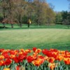 A view of a green protected by tulips at Hidden Creek Country Club
