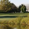 A view over the water of a hole at Executive from Jester Park Golf Club