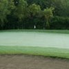 A view of a green protected by a large bunker at Jester Park from Jester Park Golf Club