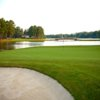 A view of a green with water coming into play at MacGregor Downs Country Club
