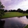 A view over the water of the 12th fairway at Linwood Country Club
