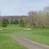 A view of a hole protected by sand traps at Neshaminy Valley Golf Club