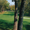 A view of a green protected by sand traps at West from Country Club of Hershey