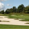 A view of a hole protected by tricky bunkers at Watson's Glen Golf Course
