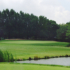 A sunny day view from a tee at Lake Barrington Shores Golf Club