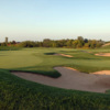 A view of the 17th hole guarded by a collection of bunkers at Hawthorn Woods Country Club