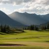 A view of a green guarded by tricky bunkers at Crested Butte Country Club