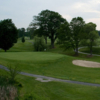 A view of a hole protected by a bunker at Franconia Golf Course
