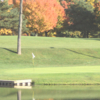 A view over the water of green #3 at Mullenhurst Golf Course