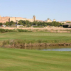 A view of a green with water coming into play at Coyote Willows Golf Club