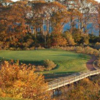 A fall view of a green at Nissequogue Golf Course