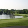A view of a green with water coming into play at Steeple Chase Golf Club