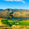 A view of a green protected by tricky bunkers at Tobiano Golf Course