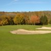 A fall view of a green surrounded by bunkers at Meaux Boutigny Golf Club