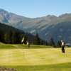 A view of the 8th green at Les Esserts Course from Verbier Golf Club