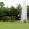 A view of a green with water coming into play at Palm Cove Golf and Yacht Club