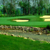 View of a bunkered green at Elks Run Golf Club