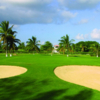 A view of a hole protected by tricky bunkers from Cancun Golf Club at Pok-Ta-Pok