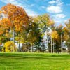 A fall view of green #10 from The East at Forest Akers Golf Course